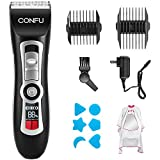 Cordless Hair Clippers and Beard Trimmer - 4.5 Hour Long Life Battery, LCD Display, Titanium and Ceramic Blades - Includes Guide Combs and 4 attachments - CONFU