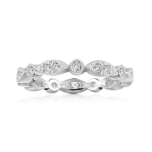 PAVOI 14K White Gold Plated Sterling Silver Rings Cubic Zirconia Band | Round Milgrain Eternity Bands | White Gold Rings for Women Size 6
