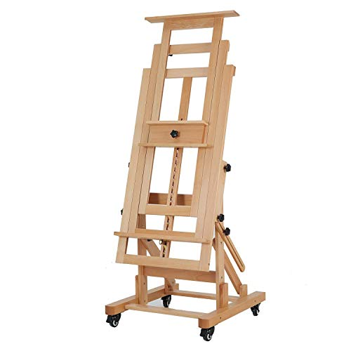 """MEEDEN Deluxe Movable H-Frame Studio Easel,Muti-Function Artist Easel, Heavy Duty Art Easel,Display Easel,Extra Large and Thicken Solid Beech Wood Easel, Holds Canvas Art Up to 78.7"""" High"""