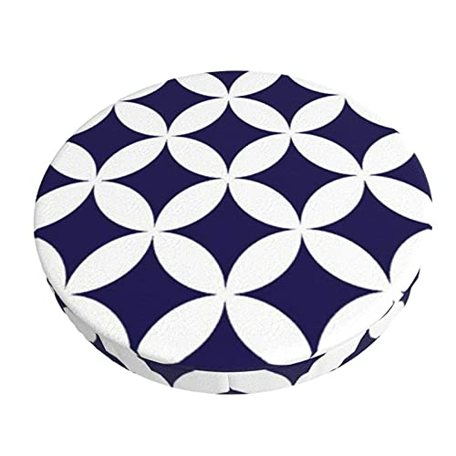 Round Bar Chair Cushion Cover Classic Geometric Circles In Cobalt Blue And White Barstool Seat Covers Elastic Stool Slipcover