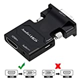 avedio links HDMI to VGA Adapter, Active HDMI to VGA with Audio Converter, HDMI to VGA Male Adapter for Laptop, PC, Monitor, Projector, HDTV, Chromebook, Roku, Xbox(3.5mm Stereo Cable included (Black)