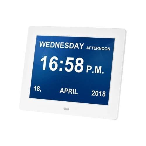 Nrpfell Marco de Fotos de 8 Pulgadas y Pantalla LED áLbum de Fotos ElectróNico Simple Admite Reloj/Foto/Video para Personas Mayores con Control Remoto (Enchufe de la EU)