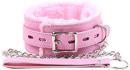BILLYHERBERT PU Leather Collars Choker with Chain Detachable Leash Rope Pink product image