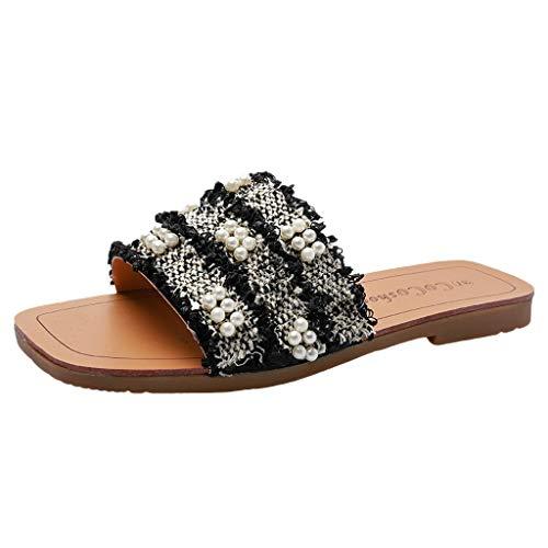 Eaylis Damen Sandalen Offene Zehenschuhe Tragen Vielseitige Perlenverzierungen Sommer Strand Schuhe Hausschuhe Stilvoll und elegant35-49