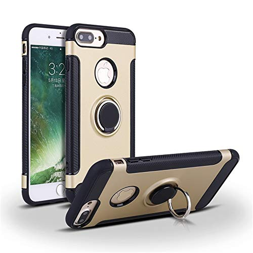 Compatible con iPhone 7 Plus, carcasa giratoria 360 grados, carcasa rígida de policarbonato + silicona TPU suave, antigolpes, antiarañazos, antigolpes y antiarañazos. dorado Talla única