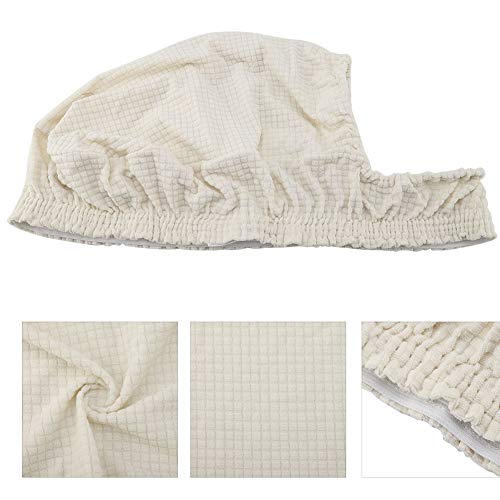 YJZO Juego de mesa de comedor elástico Jacquard silla cubierta impermeable lavable cojín de asiento para cocina (blanco cremoso)