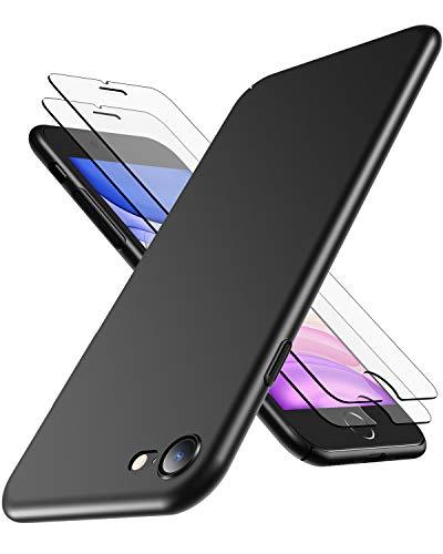 RANVOO [1 Hülle und 2 Panzerglas kompatibel mit iPhone SE 2020/8 / 7, Dünn Matt Leicht Slim Anti-Fingerabdruck Case Schale Cover Handyhülle kompatibel mit iPhone 7/8/SE 2020 - Schwarz
