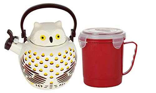 HOME-X Owl Whistling Tea Kettle and Microwave Soup Mug with Secure Snap Close Vented Lid (Red)