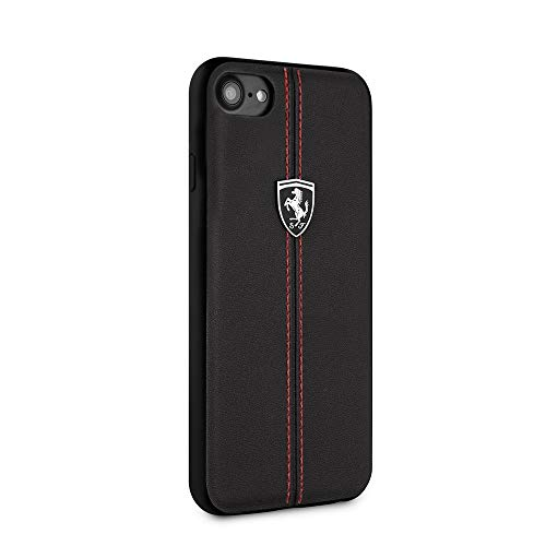 Ferrari Phone Case for iPhone SE (2020) iPhone 8 and iPhone 7 Hard Case Real Leather with Contrasting Red Stitching finishes Easy Snap-on Shock Absorption Cover Officially Licensed (Black)