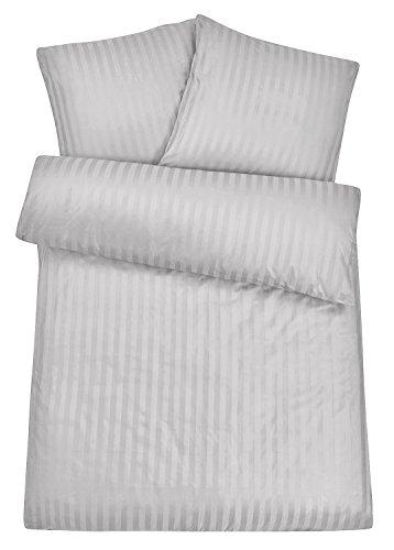 Carpe Sonno Luxus Damast Bettwäsche 155 x 220 cm Silber Grau - aus 100% Baumwolle robuster Qualitäts Reißverschluss - Graue luxuriöse Hotelbettwäsche und Kopfkissen Bezug Set mit edlen Damast-Streifen