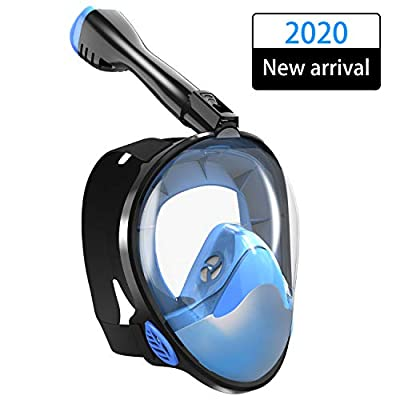 TINMIU Full Face Snorkel Mask The Most Efficient Upgraded Safety Breathing System, Snorkeling Mask with Detachable Camera Mount, 180 Degree Panoramic View, Dry Top, Anti-Fogging, Anti-Leak