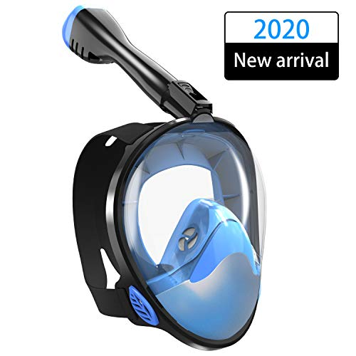 TINMIU Full Face Snorkel Mask, The Most Efficient Upgraded Safety Breathing System, Snorkeling Mask with Detachable Camera Mount, 180 Degree Panoramic View, Dry Top, Anti-Fogging, Anti-Leak