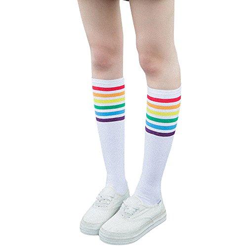 KPILP 1 Paar Frauen Oberschenkel Hohe Socken Warm Over Knie Regenbogen Streifen Niedliche Mädchen Fußball Socken Grau Freizeitsocken College-Socken,Weiß
