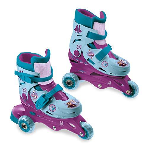 Mondo Toys - Disney Frozen II - 3 In Line Skates - pattini doppia funzione regolabili - Ruote PVC - roller bambino / bambina - Size S / mis. 29/32 - 28299