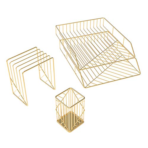 U Brands Metal Desk Organization Kit, Vena Collection, Cup, Sort and 2 Trays Included, Gold (3940U00-01)
