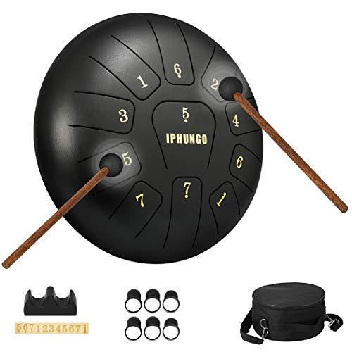 Moukey Mini Tank Drum, Pan Drum Stahl Zungentrommel 8 Noten 10 Zoll/25.4cm mit Drumstick, Tragegurt und Tragetasche