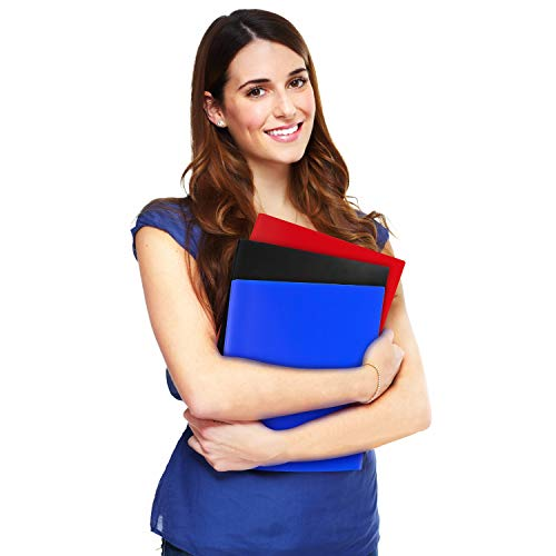 Dunwell Black Folders with Prongs and Pockets- (12 Pack, Blue, Black, Red) Plastic Folders with Fasteners, Letter Size 2-Pocket Folders for Office, Colored Folders with Pockets, with Removable Labels Photo #3