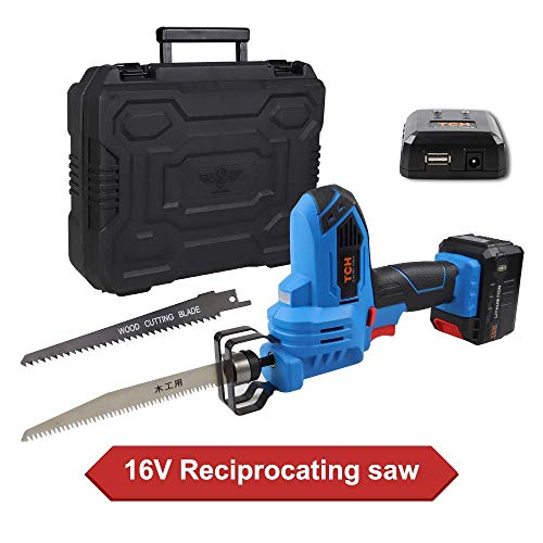 16V MAX Lithium-Ion Cordless Reciprocating Saw Kit with 2x Wood Blades and 1/2