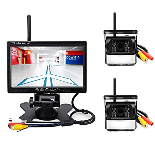 Cámaras de Marcha Atrás Inalámbrica Vehículo 7 Pulgadas TFT LCD Monitor en Color, 2 x Cámaras de Visión Trasera 18 IR LED Visión Nocturna para RV Camión Remolque Autobús Sistema de Estacionamiento