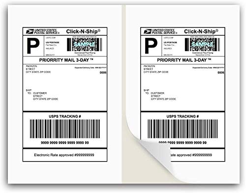 9527 Product 8.5x5.5 Shipping Labels with A Gap in The Middle, 200 Easier Peel Off, Square Corner Address Label for Laser & Inkjet Printers, White, Blank, Pack of 200 Labels, 8.5x11 Sheet