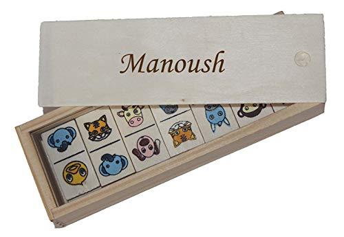 SHOPZEUS Domino für Kinder in Holzkiste mit eingravierter Aufschrift Manoush (Vorname/Zuname/Spitzname)