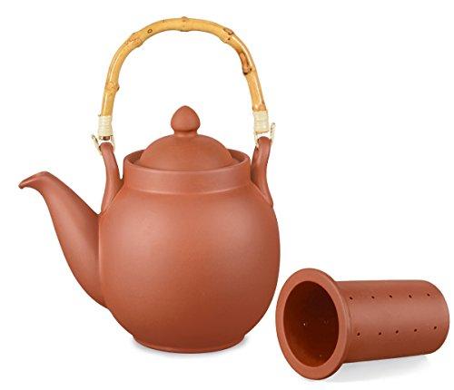 Aricola Ton Teekanne Tenno 1,6 Liter mit Tonsieb und Bambushenkel. Handgefertigt, Original