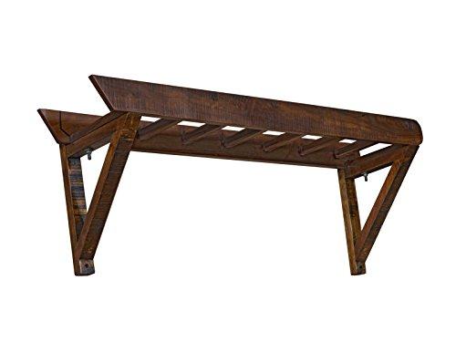 Woodkings® Garderobe Woodend, Akazie massiv, Flurmöbel Vintage, Wandgarderobe, Kleiderhaken, Leiter Design, Dielenschrank