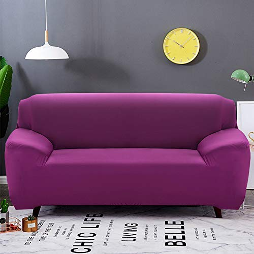 Elastic Stretch Washable 3 Seater Sofa Covers with Armrests Solid Colour Sofa Protector Anti-Slip L Shape Stretch Armchair Cover with 2 Pillow Cases 4 Places fuchsia