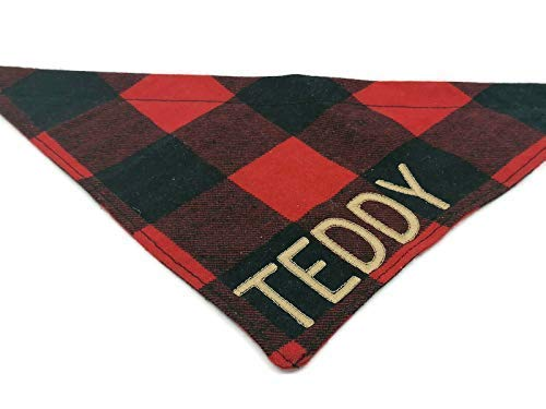 Christmas Red Plaid Personalized Dog Bandana Made of Soft Flannel, Dog Bandana over Collar, Christmas Apparel for Dog or Cat