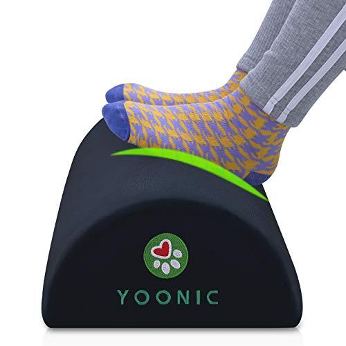 YOONIC Ergonomic Foot Rest for Under Desk Provide Leg Support at Work-Non-Slip Bottom -High Rebound Foam-Half-Cylinder-Comfort Footrest Pillow for Computer,Travel,Home(Round Black)