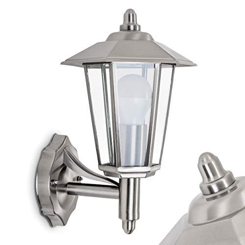 Buitenwandlamp Moskou, moderne wandlamp naar boven uit metaal en glas in roestvrij staal, wandlamp met E27 fitting, max. 60 Watt, buitenlamp IP 44 voor terras en binnenplaats, geschikt voor LED-lampen