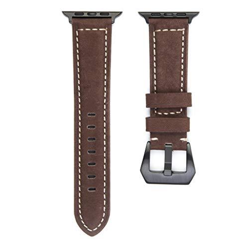 Transer Fascia di Ricambio per Cinturino in pelle Resistente, per Apple Watch Serie 1/2/3/4 42mm / 44mm (Brown)