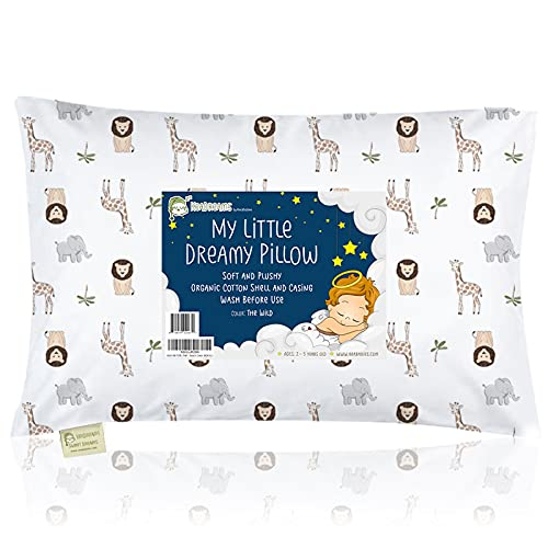 Toddler Pillow with Pillowcase - 13X18 Soft Organic Cotton Baby Pillows for Sleeping - Machine Washable - Toddlers, Kids, Infant - Perfect for Travel, Toddler Cot, Bed Set (The Wild)