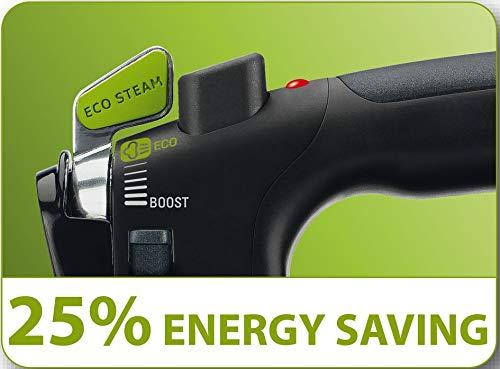 Rowenta DW6080 Eco-Intelligence 1700-Watt Energy Saving Steam Iron Stainless Steel Soleplate with Auto-Off, 400-Hole, Black