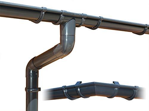 Kit gouttière PVC pour quatre versants | GD16 | disponible en 4 couleurs | Idéal pour votre abri ou chalet de jardin ! (Kit complet circonférence jusqu'à 17.50 m, Anthracite)