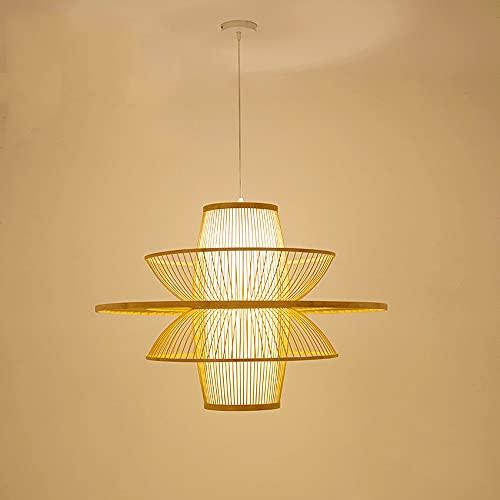 TTBDDDYH Multi Niveles Lámpara colgante de bambú con pantalla hueca E27 Lámpara colgante tejida de mimbre Lámpara de techo moderna hecha a mano con linterna de bambú para sala de estar Restaurante, be