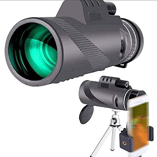 DFGBXCAW Telescopio monocular de 40 × 60, telescopio portátil Compacto con trípode con Clip para teléfono para Smartphone, observación de Aves, Senderismo, precisión, para Interiores/Exteriores