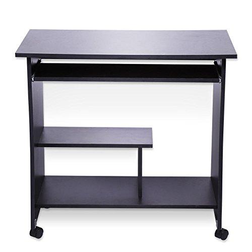 GOTOTOP - Mesa de escritorio para ordenador o ordenador, mueble informático con ruedas, mesa de trabajo, diseño simple, 80 x 49,5 x 76 cm, color negro