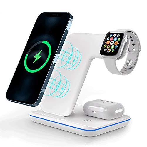 GUOYULIN Cargador Inalámbrico 3 En 1 De 15W Qi Soporte De Carga Rápida Dock, Soporte De Carga para iPhone, Apple Watch/Qi-Certified,Blanco