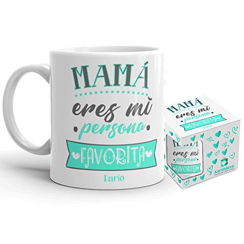 Kembilove Taza de Café Mama Personalizada – Taza de Desayuno con Nombre Madre Eres mi Persona Favorita Personalizada con Nombres Hijos – Tazas de Café y Té para Madres – Regalo Original