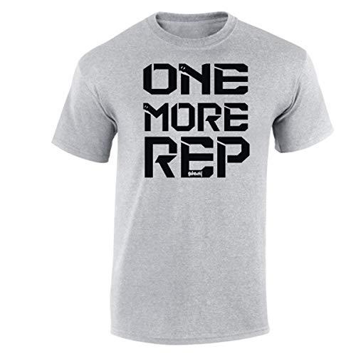 GO HEAVY T-Shirt Hombres | Hombres Deporte Camiseta Camisa de Manga Corta | One More Rep Gris Claro M
