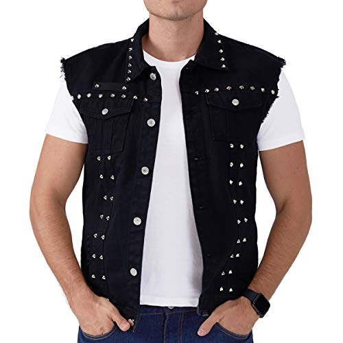 Mens Black Punk Distressed Spike Denim Vest with 2 Slant Pockets - Big Tall XL