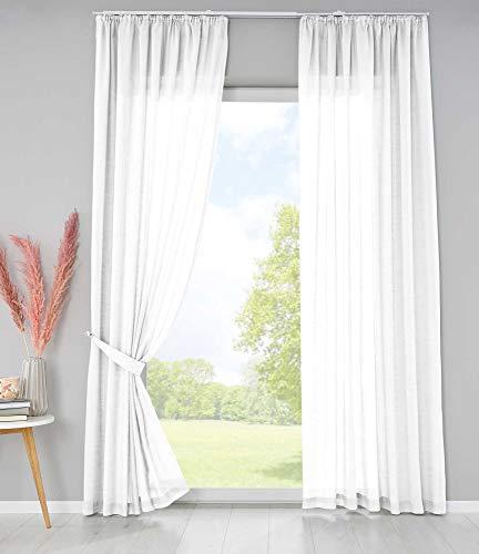 Shangrila 2er Set Bio Organic Vorhänge Reine Baumwolle HxB 225x145 cm Weiß Transparent Gardinen Verdeckte Schlaufen Gardinenband Pflegeleicht, 202087