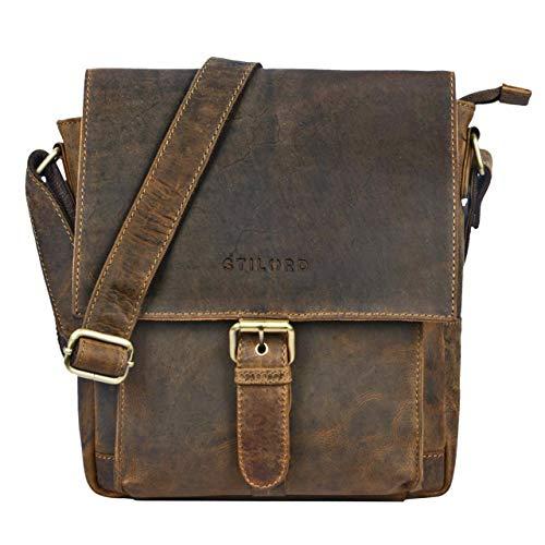 STILORD 'Nevio' Herrentasche Leder Umhängetasche kleine Messenger Bag Elegante Handtasche im Vintage Design Schultertasche für 10.1 Zoll Tablet iPad echtes Leder, Farbe:mittel - braun