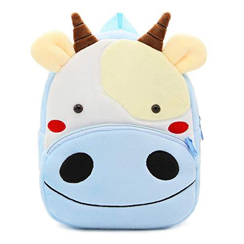 DafenQ Babyrucksack Kindertasche Kinderrucksack Umhängetasche Schultertasche mit Tieren Schule Kindergarten für Mädchen Jungen (Kuh)