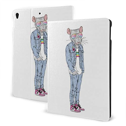 Animal Design Case for ipad 7th Generation 10.2in and ipad Air 3 & Pro 10.5in TPU Protective Leather Cover Adjustable Stand Auto Wake/Sleep Smart Case - Anthropomorphic Rat Hand Drawn