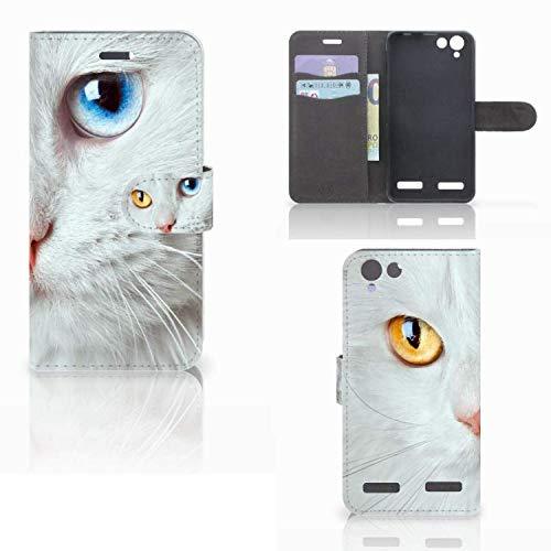 B2Ctelecom Schutzhülle kompatibel für Lenovo Vibe K5 Lederhülle Weiße Katze - Personalisierung mit Ihrem Wunschnamen oder -tekst