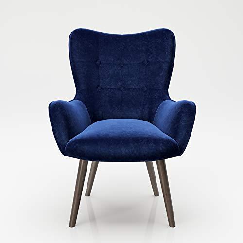 PLAYBOY Sessel mit Massivholzfüssen, Samt in Blau, Bestickung und Keder, Samtbezug, Retro-Design für Wohnzimmer, Schlafzimmer, Lounge oder Lesebereich, Ohrensessel