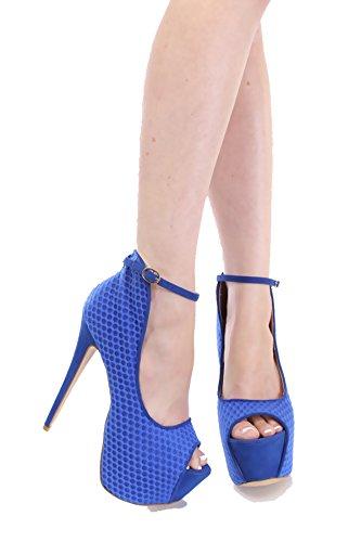 Liliana Cutout Mesh Peep Toe Platform Heels Mesh Diva-1 (7.5, Blue)