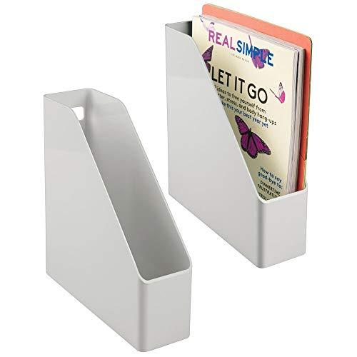 mDesign Juego de 2 clasificadores para revistas, Documentos o Cartas – Revistero archivador de plástico con asa – Sistema Organizador de Documentos Vertical para Oficina – Gris Claro